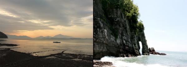 남일대 해수욕장 인근 실안노을길(왼쪽)과 코끼리 바위.