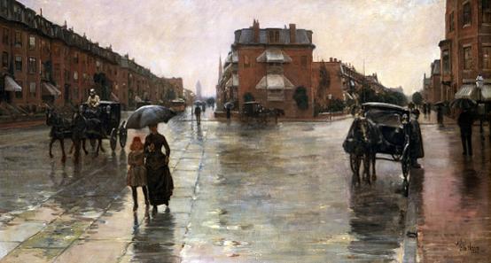 프레드릭 차일드 하삼 <보스턴, 비오는 날> 캔버스에 유채, 1885, 66.3×122cm, 톨레도 미술관, 톨레도