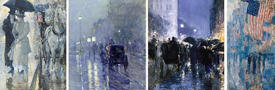 하삼의 '비오는 풍경'을 주제로 한 그림들로 왼쪽부터 1888년, 1890년, 1895년. 1917년 작품이다. 마지막 성조기가 보이는 그림은 오바마 미국 대통령이 취임 때 백악관의 집무실을 새롭게 단장하며 걸었던 <빗속의 거리>이다.