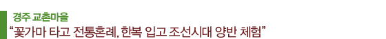 """경주 교촌마을 """"꽃가마 타고 전통혼례, 한복 입고 조선시대 양반 체험"""""""