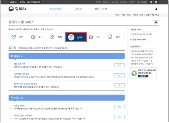 '일자리 꾸러미 서비스' 제공 화면.