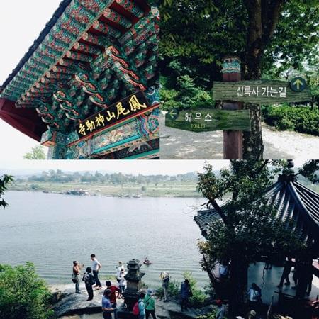 신륵사와 남한강을 감상하는 참가자들.
