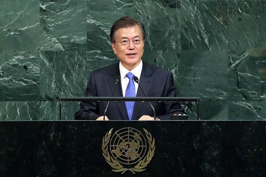 UN기조연설을 하고 있는 문재인 대통령(사진출처:청와대)