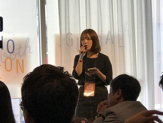 발표를 하고 있는 밍양꽉 팀 김아영 씨.