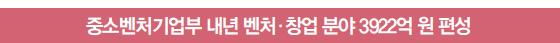 중소벤처기업부 내년 벤처·창업 분야 3922억 원 편성