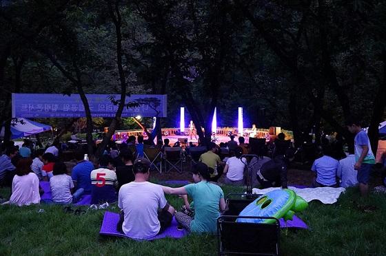 어둠이 내려앉은 캠핑장에서 탐방객들이 콘서트를 관람하고 있다.