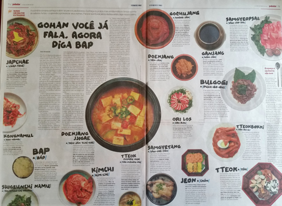 브라질 일간지 <에스타두 지 상파울루>에 소개된 한국 음식. <저작권자(c) 연합뉴스, 무단 전재-재배포 금지>