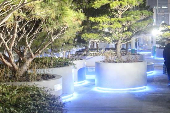 푸른 불빛과 스피커로 나오는 소리는 몽환적 분위기를 연출한다.