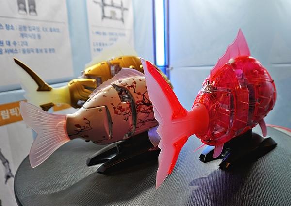세계 최초로 상용화한 '비단 잉어'와 '도미'로봇. 스스로 장애물을 인식하고 수심 5m에서 헤엄을 친다. 사람이 많은 지역인 문화 ICT관, IBC(국제 방송 센터) 등에서 만날 수 있다.