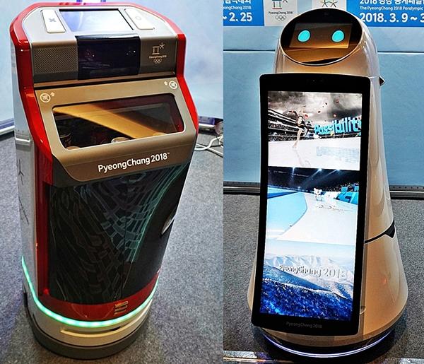 (좌)로봇명: 고카트 미니-복잡한 실내에서 자율주행으로 음료를 서빙 해주는 로봇.(우)로봇명: 에어스타-화면, 음성, 동작을 통해 통역 및 경기와 관광지 등을 안내하는 로봇.