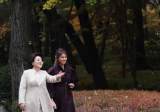 두 나라 두 여사, '가을 오후 하나된 웃음꽃'