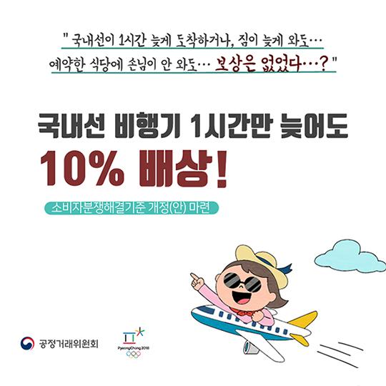 국내선 비행기 1시간만 늦어도 10% 배상!