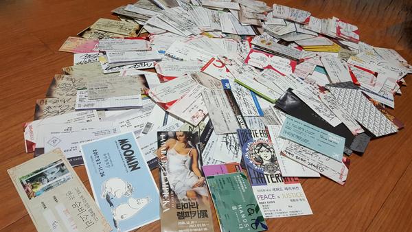 지난 한 해 동안 봤던 공연 및 전시회 티켓들.