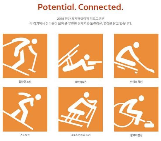 평창동계패럴림픽에서 진행되는 6개의 종목들에 대한 픽토그램. 픽토그램 역시 한글을 바탕으로 제작되었다.(사진=2018평창동계패럴림픽대회 홈페이지)