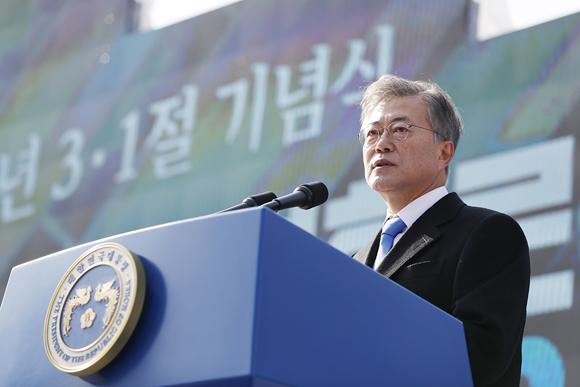 문재인 대통령이 1일 오전 서울 서대문형무소 역사관에서 열린 제99주년 3·1절 기념식에서 기념사하고 있다. (사진=청와대)