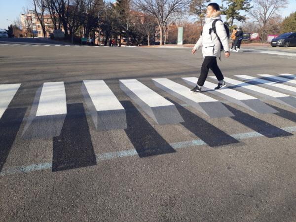 횡단보도를 걷고 있는 학생. 착시효과를 불러일으킨다.