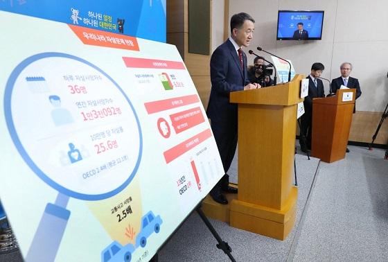 박능후 보건복지부 장관이 22일 오후 서울 세종로 정부서울청사 별관에서 관계부처와 합동으로 '자살예방 국가 행동계획'을 발표하고 있다.