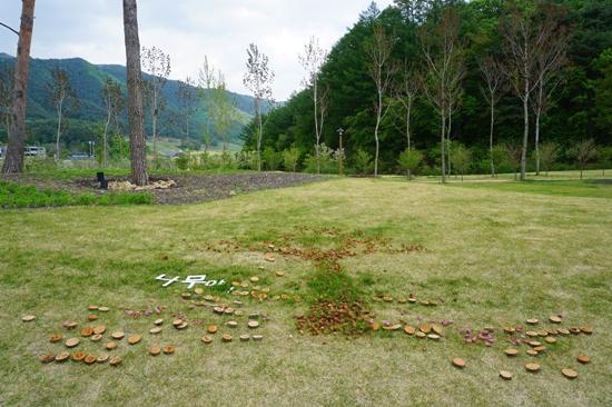 잔디밭에 만들어진 나무 모양의 작품