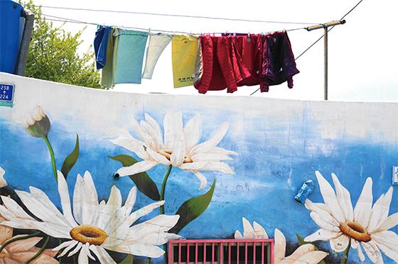해돋이 마을 골목골목에 마련된 쉼터와 꽃으로 그려진 마을 벽면(사진=부산 영도구청)