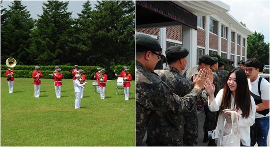 기자단의 방문을 환영하는 장병들과 군악대의 깜짝 선물 (사진제공=30사단)