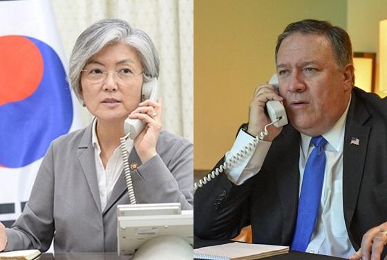 29일 강경화 장관(왼쪽)과 마이크 폼페이오 미 국무장관이 전화 통화를 가졌다. 폼페이오 장관이 방북을 앞두고 있다는 소식이 전해진 가운데 이뤄져 한미 간 사전 협의에 나선 것으로 풀이된다.