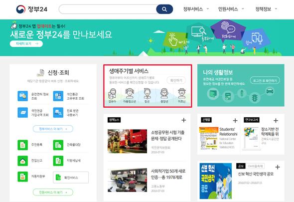 '정부24' 메인 화면.