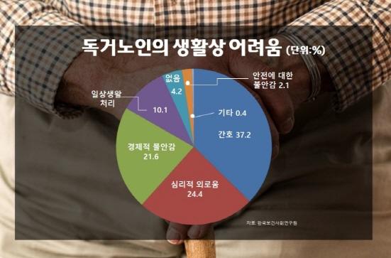 경제적 불안과 심리적 외로움이 독거노인 생활상 어려움의 46%를 차지했다 (출처=한국보건사회연구원)