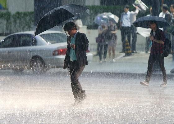 국지성 호우가 내리는 횡단보도를 시민들이 우산을 쓴 채 건너고 있다.(사진=저작권자(c) 연합뉴스, 무단 전재-재배포 금지)