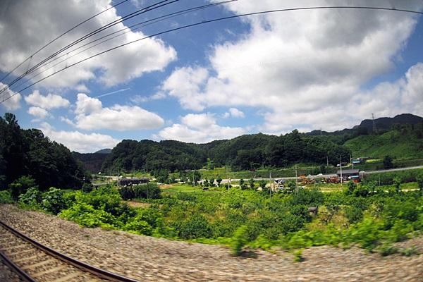 고향으로 향하는 열차의 창밖 풍경