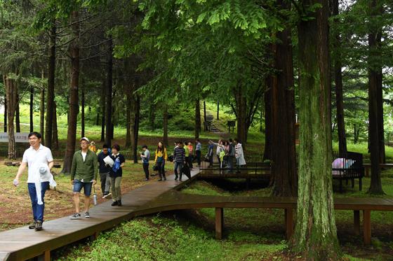 적보산 씨앗숲을 찾은 탐방객들.