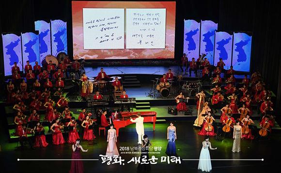 두 정상 부부, 삼지연관현악단 공연 동반 관람