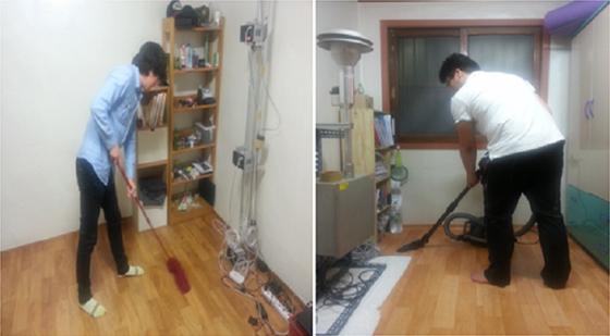 김조천 교수팀이 밀대청소기와 진공청소기를 사용한 미세먼지 농도 변화 실험을 하고 있다.