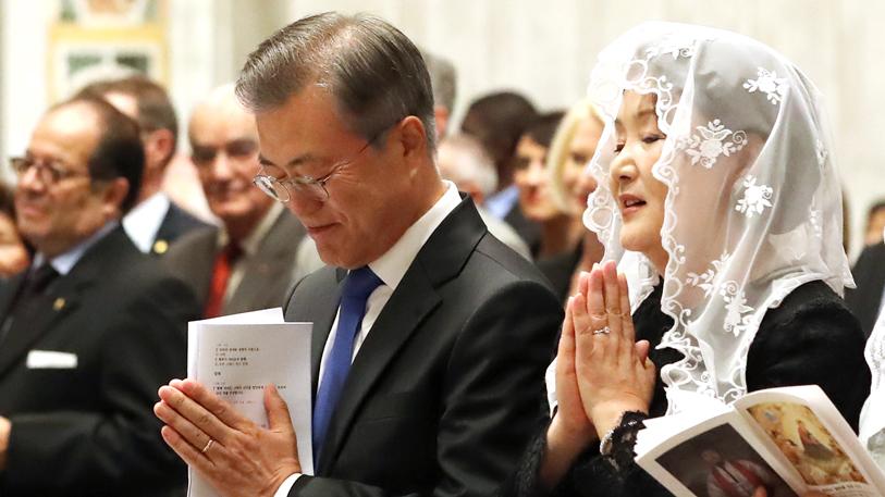 """문 대통령, 교황청 한반도 평화미사 참석…""""평화 기필코 이룰 것"""""""