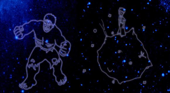나사가 명명해서 공개한 어린 왕자와 헐크 별자리.