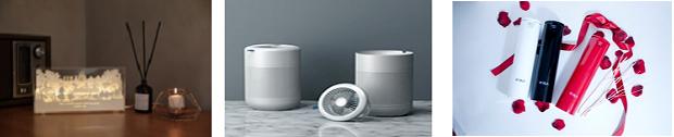 주요 전시제품. 왼쪽부터 에끌라몰의 엘리스 감성 무드등, 퓨전디자인의 4in1 air modular(선풍기+공기청정기+가습기+제습기), 브알라의 생활속에 비치할 수 있는 소화기.