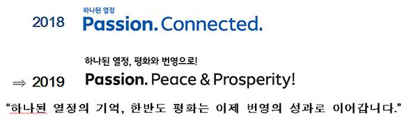 평창올림픽의 대표적 성과인 '평화'의 기반 위에 번영으로 나아감을 핵심메시지로 하고, 슬로건化하여 효과적인 대국민 소통 추진