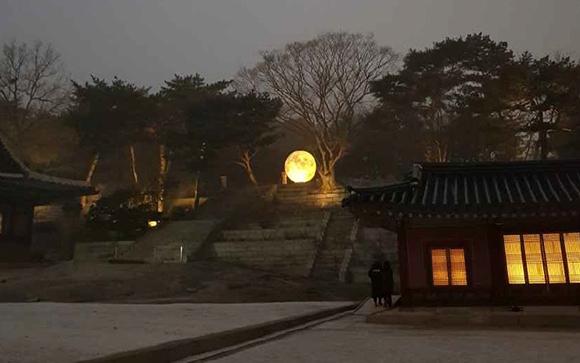 창경궁 풍기대 주변에 설치한 대형 달 모형. (사진=문화재청)