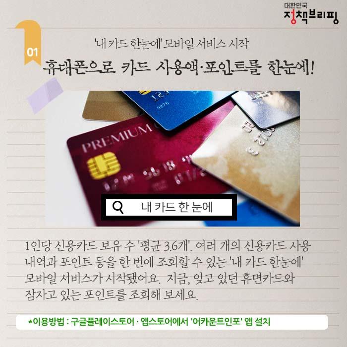 [주간정책노트] 휴대폰으로 카드 사용액·포인트를 한눈에!