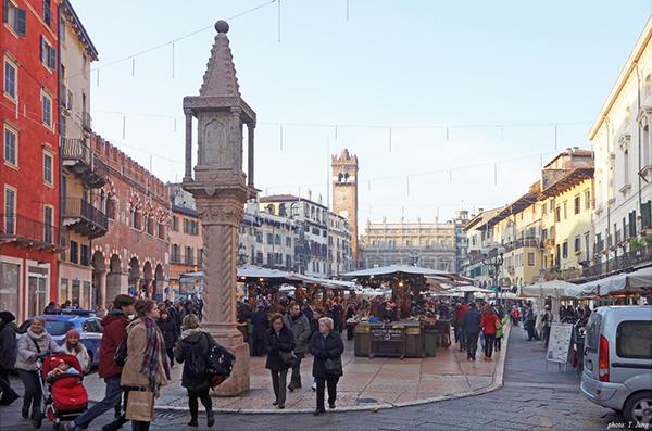 베로나의 심장 에르베 광장. 줄리엣의 집은 이 광장 가까이에 있다.
