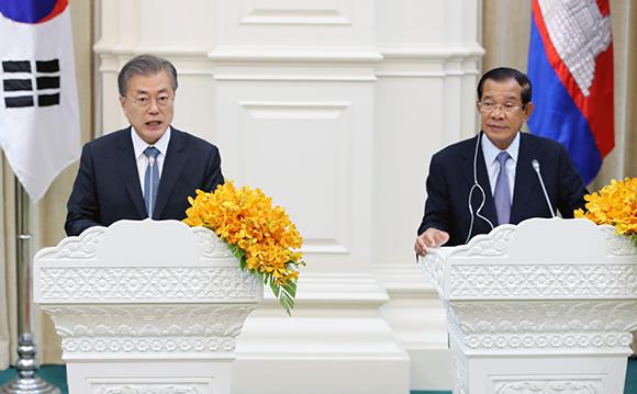 [전문] 문 대통령 한·캄보디아 공동언론발표문