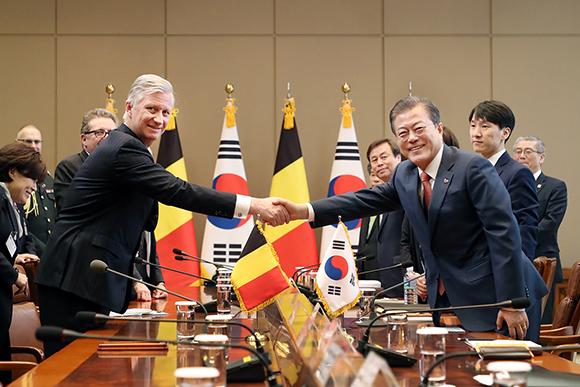 한·벨기에 정상회담…한반도 평화프로세스 협력 공감대