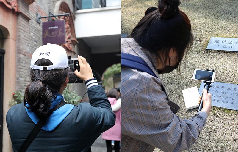 상해 '영경방'(임시정부 요원 숙소)와 '만국공묘'에서 사진과 영상을 기록하는 사람들
