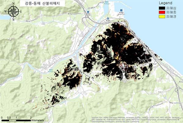 강릉-동해 산불 당시 피해지 위성 자료(출처=산림청 국립산림과학원)