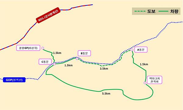 'DMZ 평화의 길' 철원 구간 노선도.