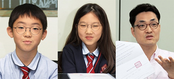 왼쪽부터 박종현 학생, 김연서 학생, 김대권 교사.