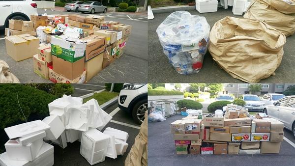 아파트 앞 분리수거로 모아 놓은 재활용 쓰레기를 살펴봤다. 재활용 쓰레기는 폐지, 캔, 유리, 비닐, 프라스틱, 스치로폼 등으로 분리수거한다.