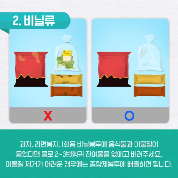 올바른 비닐류 배출 원칙.