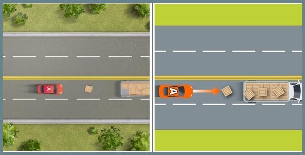 자동차전용도로를 포함한 고속도로에서 앞차에서 떨어진 적재물과 안전거리 주행하는 뒤차와이 충격 사고시 0:100으로 과실 비율 산정됐다.