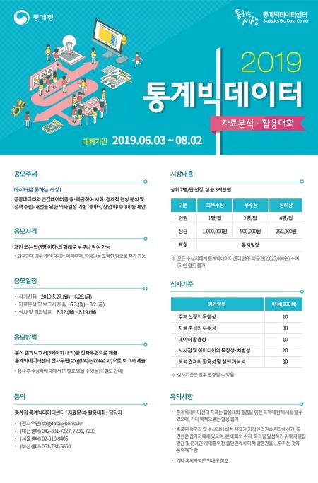 2019 통계빅데이터 자료분석 활용대회 포스터.