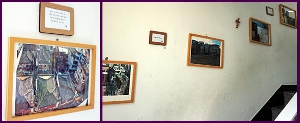 올라가는 계단에 옛 사진이 있어 기억을 찾아볼 수 있다.